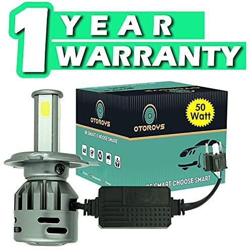OTOROYS 1 YEAR WARRANTY LED Headlights AC/DC Bulbs for Motorcycle - Low and High Beam Bulbs (White) AC/DC 50Watt (50 WATT 3 SIDE LED)