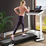 Tengma Folding Treadmill Electric Motorized Running Machine w/White LED Display and Music Player for Indoor Home Office Jogging/Walking/Incline Portable Space Saving Fitness Exercise Workout