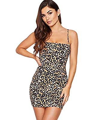 """Fabric has some elasticity Short,animal print,stretchy bodycon cami dress Mini dress, fit for everyday dressing, party and club wear, gatherings,etc. Model: Height:171cm/5'7"""", Bust:81cm/32"""", Waist:61cm/24"""", Hip:86cm/34"""", Wear: S Please refer to Size ..."""