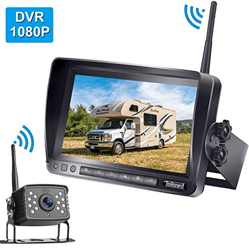 DoHonest FHD 1080P Digital Wireless Backup Camera 7'' DVR Monitor Support Dual Split Screen for Trailers,Trucks,RVs,5th Wheels Guide Lines On/Off
