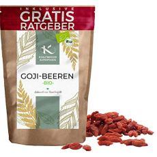 BIO Goji Beeren getrocknet 900g | Premium Gojibeeren naturbelassen ungezuckert Krautberger Superfood ohne Zusätze inkl Ratgeber I hochwertig Beeren