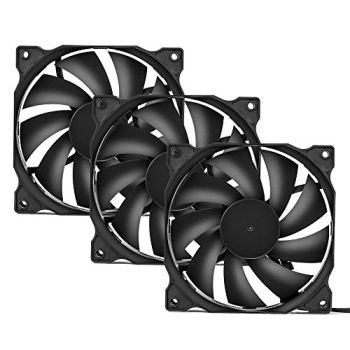 upHere 120mm Silent Fan for Computer Cases, CPU Coolers, and Radiators Ultra Quiet High Airflow Computer Case Fan, 3- Pack,12BK3-3