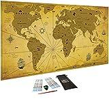 Carte du monde à gratter Vintage, XXL (82 x 43 cm)/ Papier couché extra épais 300 g/m2, laminé avec un...