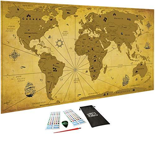 Carte du monde à gratter Vintage, XXL (82 x 43 cm)/ Papier couché extra...