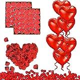 RANJIMA Bougies Romantiques et Pétales, 50 Bougies en Forme de Coeur + 10 Ballons Coeur Rouges + 1000 Pétales de Rose Rouges en Soie pour Mariage Anniversaire...