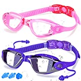 COOLOO Swim Goggles, 2 Pack Swimming Goggles Anti-Fog for Men Adult Women Kids, Pink & Sapphire (Eyewear)