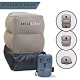 Prazoli Products Koala Kloud Travel Foot Rest Pillow - Inflatable Airplane Footrest | Flight Pillows for Kids | Grey Height Adjustable Toddler Bed | Leg Rest for Home/Office & Long Air & Car Rides
