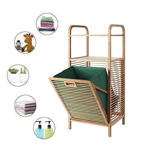 Badregal mit Wäschekorb aus Bambus 16'x 13' x 38'(L x B x H) Badschrank mit 2 Ablagen für Badaccessoires als Wäschebehälter mit Ausklappbarem Wäschesack Wäschetruhe Wäschebox