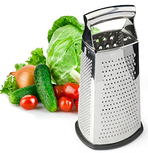 4-Sided Stainless Steel Grater for Cheese, Vegetables