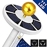 Solar Flag Pole Light 111 led Light, Super Bright Flag Pole LED, Solar Powered Flag Pole Lights for Longest Lasting Upto 10 Hrs, LED Downlight up Flag on Most 15 to 25Ft 100% Flag Coverage LED (White)
