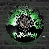 JXWH Horloge Murale de Disque Vinyle Pokemon avec des Enfants illuminés Autocollant...