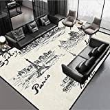 Travel Girls Room Rugs for Girls Room and Nursery - Home Decor Silhouettes of Different Popular Cities in World Paris Sidney Berlin London Print Cream Black Rug 46' by 30'
