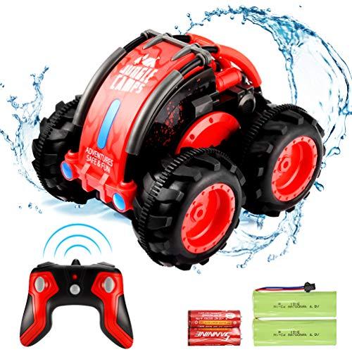 allcaca RC Auto 4wd Amphibienfahrzeug Ferngesteuert 360 Grad Stunt Ferngesteuertes Auto Wasser und Land für Kinder, Batterie Eingeschlossen,Rot