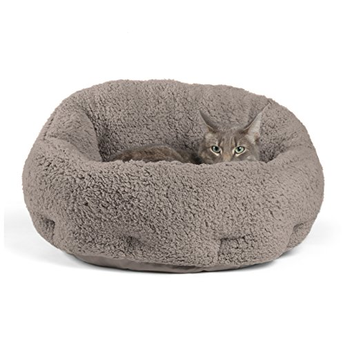 Best Friends by Sheri OrthoComfort Deep Dish Cuddler (19x17x12') - Self-Warming  Cat and Dog Bed, Gray