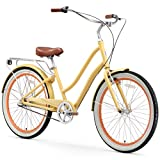 sixthreezero EVRYjourney Women's 3-Speed Step-Through Hybrid Cruiser Bicycle, 26' Wheels with 17.5' Frame, Cream with Brown Seat and Grips