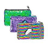 HeySun f8d-cc9e46a Bolsa para lápices de lentejuelas reversibles con purpurina, organizador de maquillaje pequeño, 7.87' * 4.72', 3-Arcoíris/morado/verde azulado, 1.00[set de ]