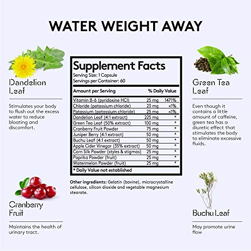 Water Weight Pills to Thin Waistline & Relief Belly Bloat Ankle & Leg Swelling + Electrolytes Support w/Potassium B6 VIT | Dandelion Natural Diuretic Supplement for Water Retention Loss | Woman & Men 2