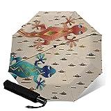 WALL-8-CC Geckos Southwest - Paraguas para lluvia, diseño de lagartija del desierto