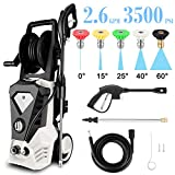 High Pressure Washer 3500 Max PSI 2.6 GPM Electric Car Pressure Washer with Hose Reel, 32 ft Cable and 5 Quick-Connect Spray Tips for Home Garden (US Stock) (White-2.6GPM 3500PSI)