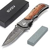 GVDV Couteau Pliant Poche avec Pierre à Aiguiser - Couteau Pliable de...