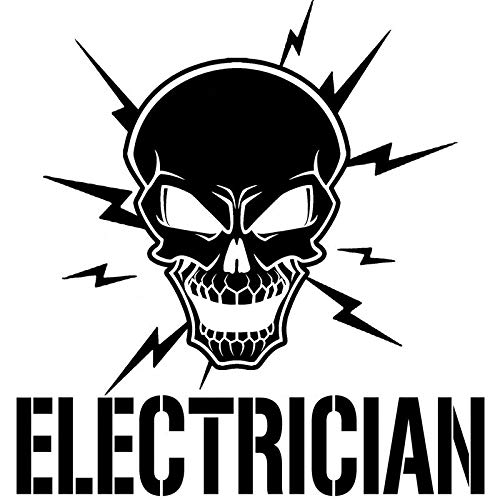 HTSM Pegatina eléctrica de 17,8 cm x 18,4 cm, diseño de calavera y pernos de relámpago, para electricista, Vinyl, accesorios para coche, adhesivo negro plateado C8-1066 (nombre del color: negro)
