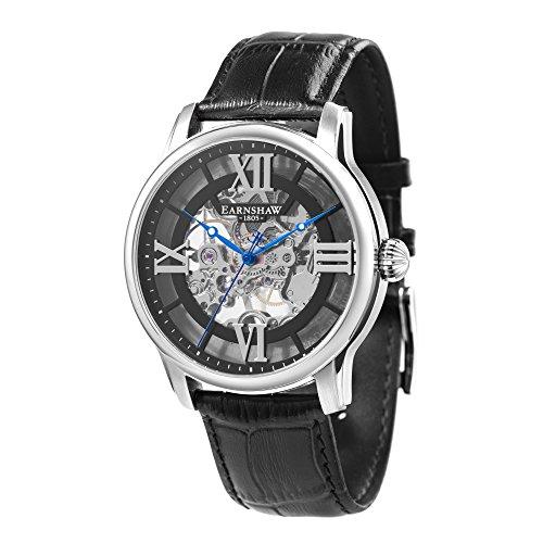 Thomas Earnshaw Longitude ES-8062-01 mechanische Herren-Armbanduhr, schwarzes Zifferblatt mit Skelett-Anzeige, schwarzes Lederarmband