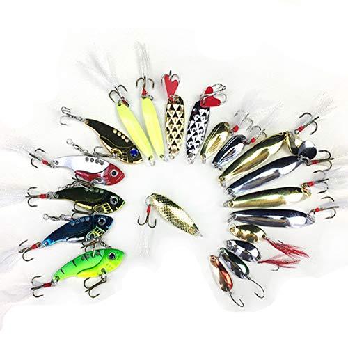 Beunyow Artificiali da Pesca,Kit di Esche per Pesci,Esche Cucchiaino,Esche Doppio Amo, Trota/Persico/Luccio Esche di plastica (21 Pezzi)