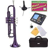 Mendini MTT-PL Purple Lacquer Brass Bb Trumpet + Tuner, Case, Stand, Mouthpiece, Pocketbook & More - MTT-PL+SD+PB+92D