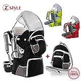 Sac à dos porte-bébé ergonomique rembourré, protection solaire, ceinture, trekking montagne Noir