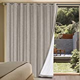 H.VERSAILTEX Linen Blackout Curtains Durable Thick Textured Linen Look 100% Blackout Patio Door Curtain Anti Rust Grommet Extra Wide Sliding Door Curtain Panel, W100 x L84 inch - Taupe