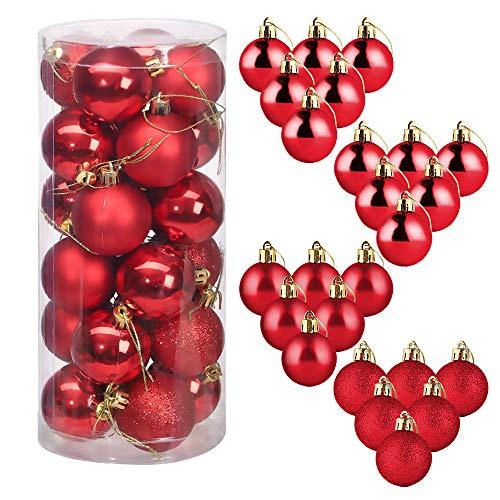 Bolas De Navidad, ZoneYan 24 Pcs Bolas para Árbol de Navidad, Adornos Navideños para Arbol Bolas, Bolas de Navidad Inastillable Plástico Decorativas Boda de Fiesta, Hogar, Decoración Vacaciones (Rojo)