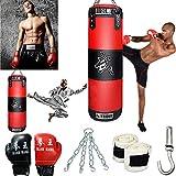 888Warehouse Full Heavy Boxing Punching Bag (Empty), Training Gloves Speed Set Kicking MMA Workout, Taekwondo Training Fitness Heavy Boxing Workout, Muay Thai Kick Bag, Home Gym