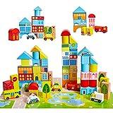 Onshine 62 Teile Bauklötze Bausteine Holz mit Puzzle-Karte und Koffer, Bunte Holzspielzeug Holzbausteine für Baby Kinder