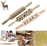 WAQIA Christmas Wooden 3D Rolling Pins,Embossing Natural Wood Carved Engraved Rolling Pin with Christmas Pattern for Baking Embossed Cookies,Rolling Pin Kitchen Tool