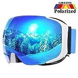 COPOZZ Ski Goggles, G2 Magnetic Snowboard Snow Goggles -2 Seconds Quick Change Lens, Imported Double-Layer Anti Fog Lens -UV400 OTG Goggles (G2 Goggle - Polarized Blue Lens (VLT 11.5%))