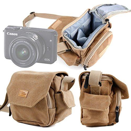 DURAGADGET Bolso/Canvas para Cámara Evil Canon EOS M10 | Panasonic Lumix GX7 | Nikon 1 J5 | Sony NEX-3NLB | Olympus Pen E-PL6 | Sony Alpha A6300 - Marrón