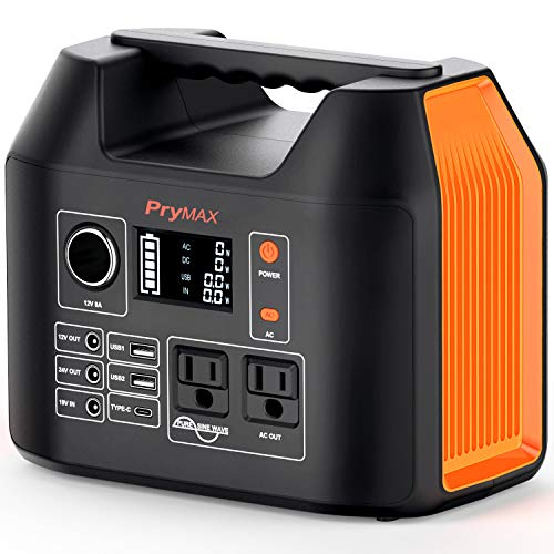 PRYMAX Portable Power Station, 300W Solar Generator 2019 Updated 298Wh CPAP Backup Battery Pack with LED Flashlight,110V/300W Pure Sine Wave,AC Outlet, QC3.0 USB,for Outdoors Camping Travel Emergency