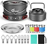 Odoland 22pcs Camping Cookware Mess Kit, Large Size Hanging Pot Pan Kettle with Base Cook Set for 4, Cups Dishes Forks Spoons Kit for Outdoor Camping Hiking Picnic