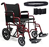 New Karman T-922W (T-922W) Heavy Duty Transport Wheelchair with Removable Footrest and Armrest, 22' Width & Free Wheelchair Seatbelt!