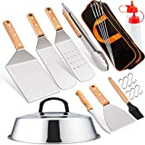 Leonyo Griddle Accessories Tool Set of 15, Heavy Duty Grill Griddle Metal Spatula for Cast Iron Flat...