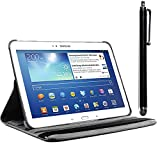 ebestStar - Coque Compatible avec Samsung Galaxy Tab 3 10.1 GT-P5210, 10 P5200 P5220 Housse Protection Etui PU Cuir Support Rotatif 360 + Stylet, Noir [Appareil: 243.1 x 176.1 x 8mm, 10.1'']