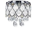 Diamond Life Modern LED Crystal Chandelier Chrome Metal Shade Flush Mount Ceiling Lighting Fixture, C909