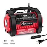 Tire Inflator Air Compressor, 12V DC / 110V AC Dual Power Tire Pump with Inflation and Deflation Modes, Dual Powerful Motors, Digital Pressure Gauge, Avid Power