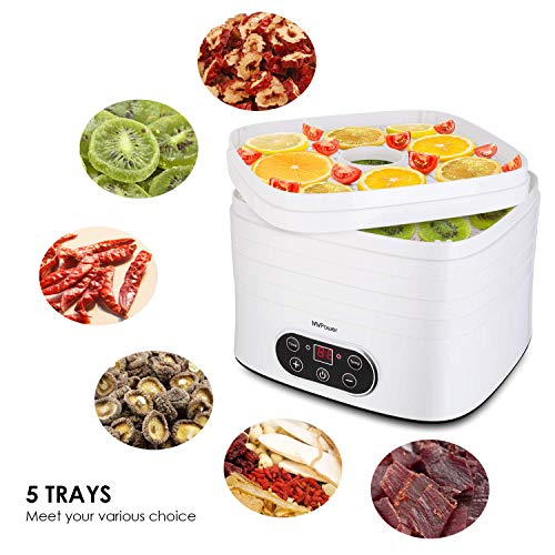 MVPOWER Heißluftfritteuse, Fritteuse mit Timer und Temperatur, 1300w 2.6L, 7-in-1-Multifunktions, LCD Digital Touch