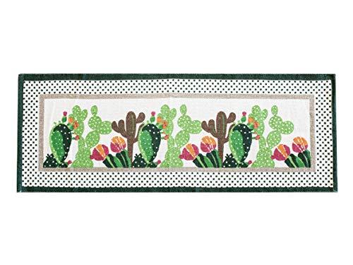 Tappeto Antiscivolo Cucina, Passatoia Cucina Misura 50x135 cm, Lavabile in Lavatrice, Motivo Mexico, Disegno Cactus, Tappetino Bagno e Multiuso