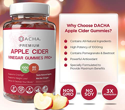 DACHA Apple Cider Vinegar Gummies – 1000mg Raw, Organic, Unfiltered ACV from the Mother, Not Sticky, 80 Count, Immune, Detox & Weight Loss, Acid Reflux, Heartburn, Pomegranate Beet Root Vitamin B9 B12 2 - My Weight Loss Today