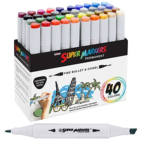 40 Color Super Markers Primary Tones Dual Tip Set