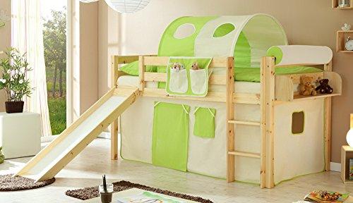 lifestyle4living Hochbett für Kinder in braun mit Rutsche, Vorhang in grün-beige | Spielbett aus Kiefer Massivholz mit Einer Liegefläche 90x200 cm