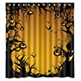 ZHANZZK Halloween Pumkin Fabric Bathroom Shower Curtain 66 x 72 Inches