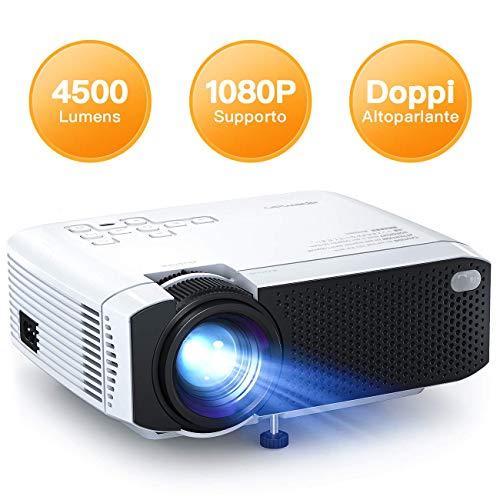 Proiettore APEMAN 4500 Lumen Mini Videoproiettore Portatile Doppio Altoparlante del LED fino 50000 Ore Cinema Domestico...